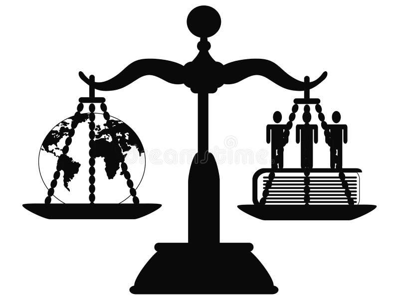Justicia en la escala stock de ilustración