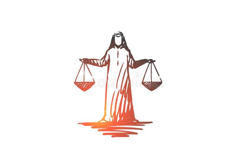 Justicia, Islam, pesando, concepto de la balanza Vector aislado dibujado mano ilustración del vector