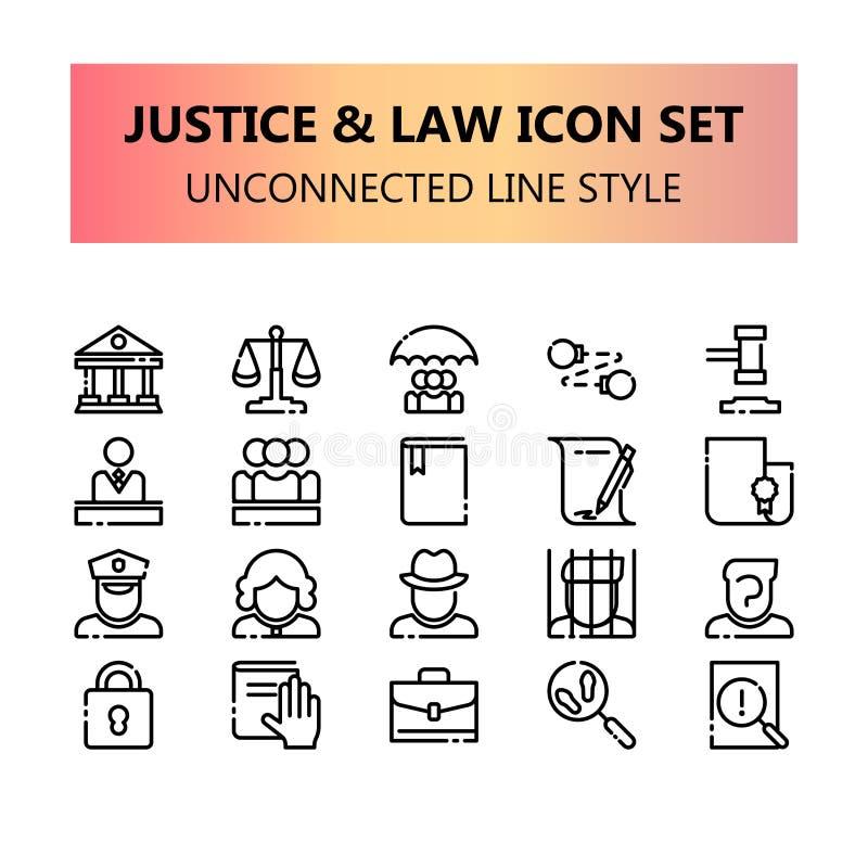 Justicia, ley e iconos perfectos del pixel legal fijados en esquema no relacionado libre illustration