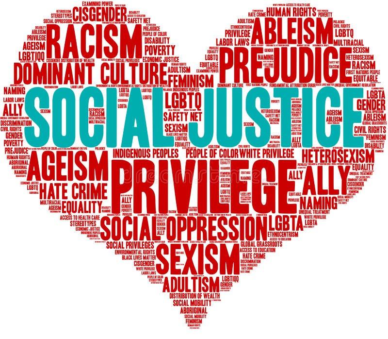 Justicia social Word Cloud stock de ilustración