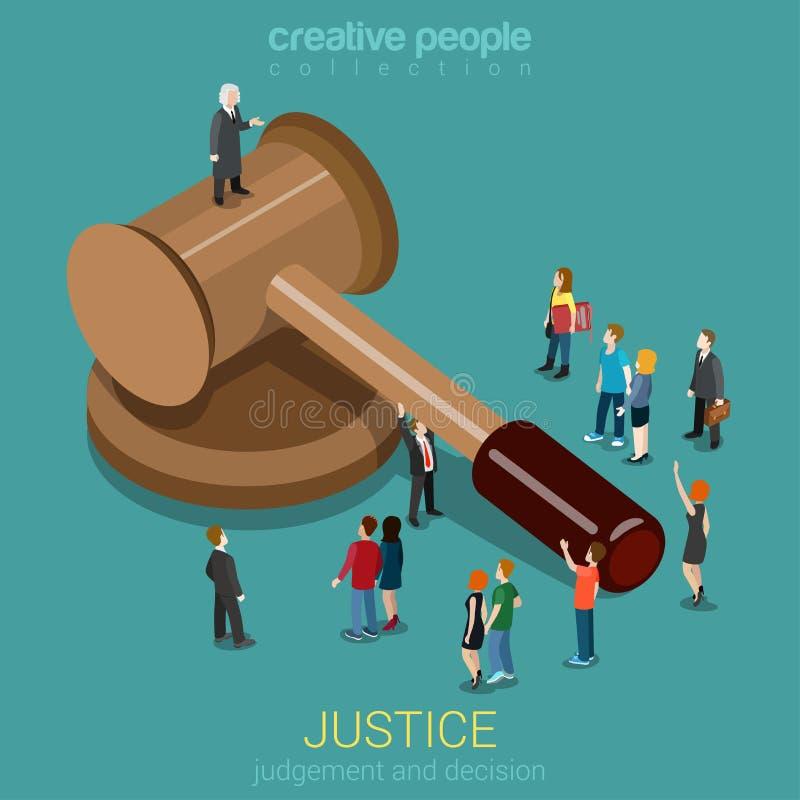 Justicia y concepto isométrico plano 3d de la ley, del juicio y de la decisión ilustración del vector