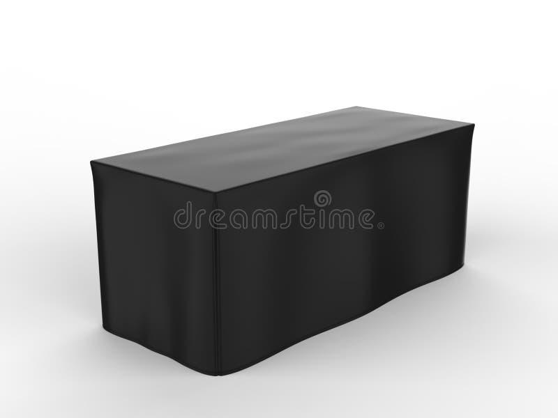 Justierbare Fahne oder Tischdecke Stoff der Messenausstellungswerbungsläufertabelle 3d übertragen Abbildung lizenzfreie abbildung