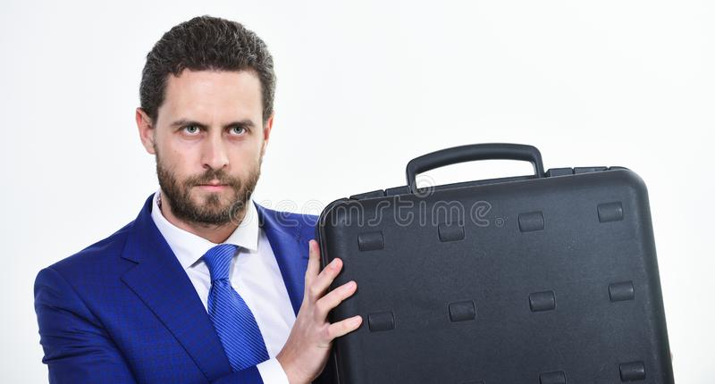Justification for proposed project or expected commercial benefit. Man hold briefcase. Business profit. Commercial offer royalty free stock photography