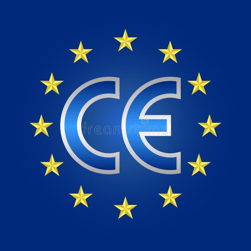 Justificativo de calidad del CE etiqueta, muestra de la marca de la conformidad ilustración del vector