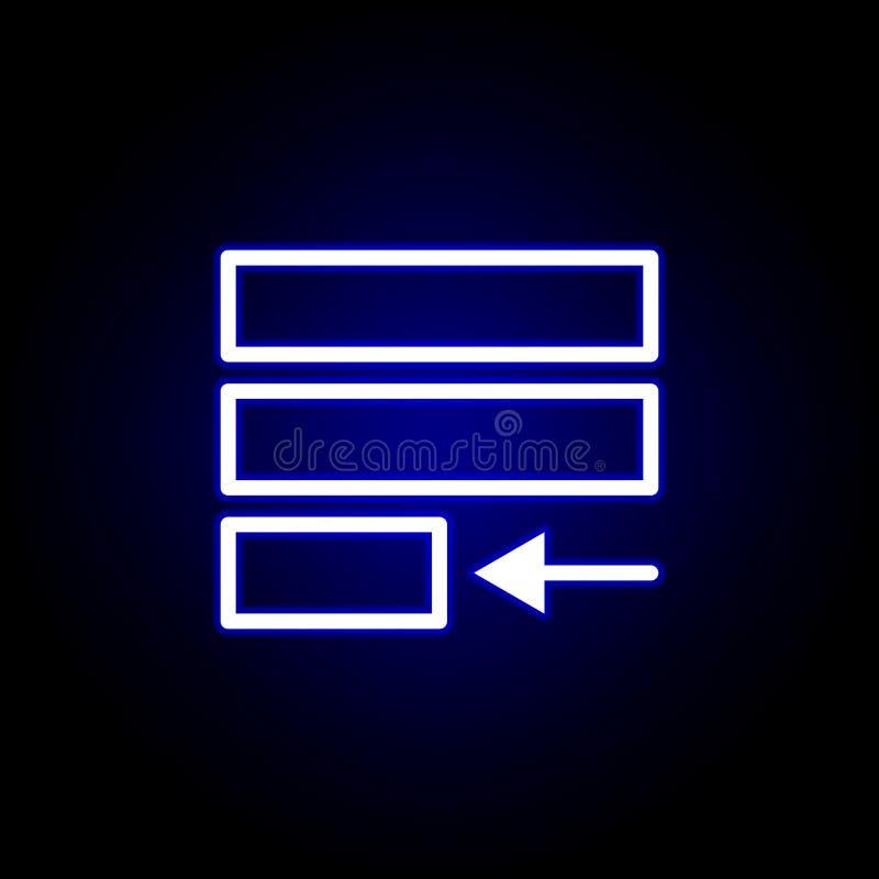 Justifique el icono del texto en el estilo de neón Puede ser utilizado para la web, logotipo, app m?vil, UI, UX ilustración del vector