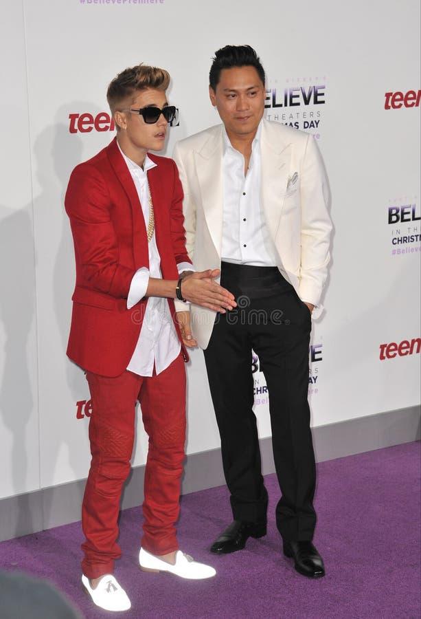 Justin Bieber et Jon M Chu images libres de droits