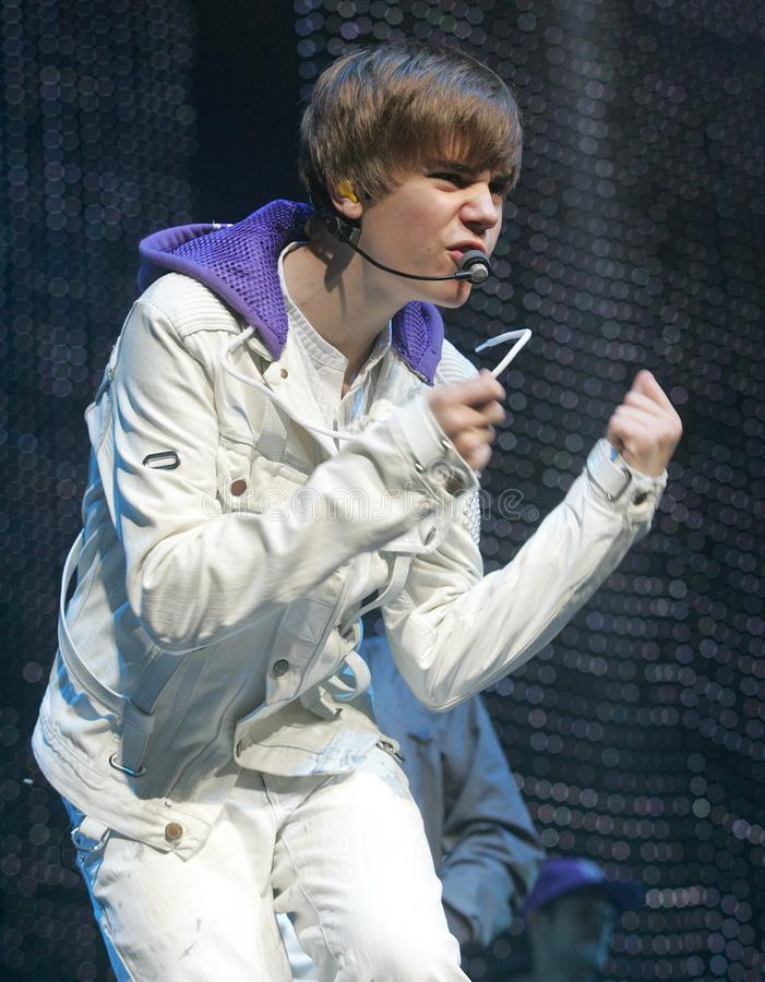 Justin Bieber exécute de concert photo stock