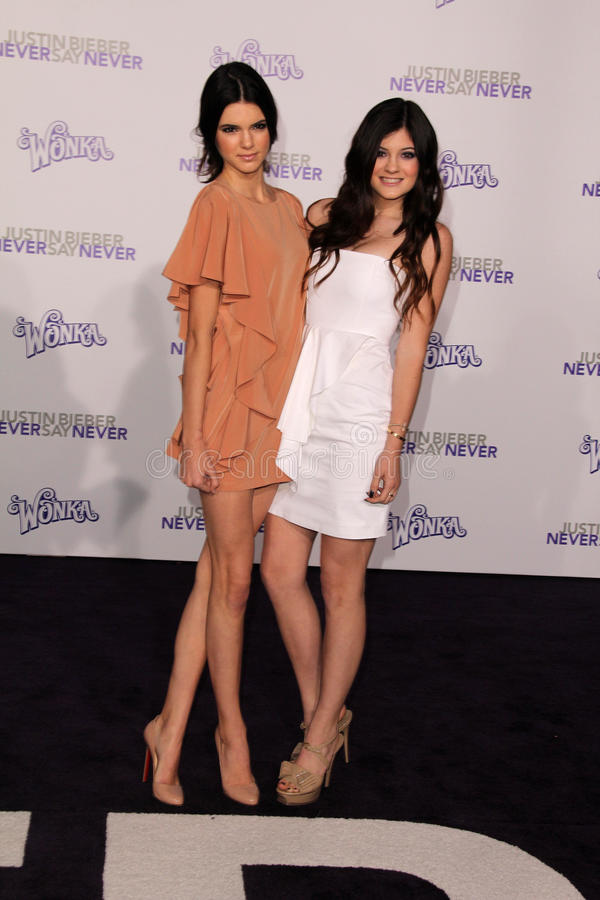 Justin Bieber, Kendall Jenner, Kylie Jenner photos stock
