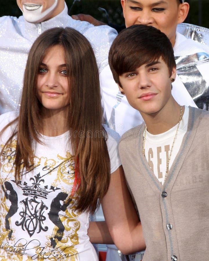 Justin Bieber, Michael Jackson, Paris Jackson image stock