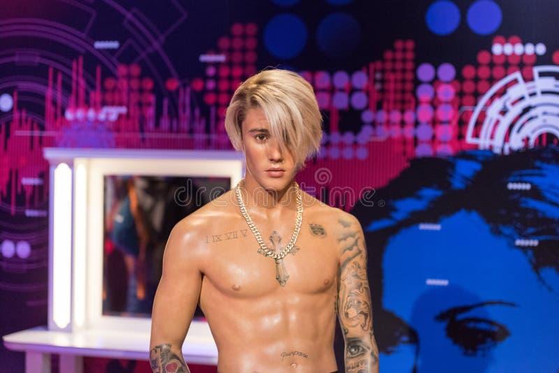 Justin Bieber vaxdiagram på museet för madam Tussauds i Istanbul royaltyfri foto