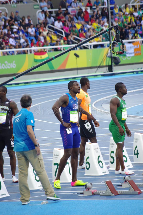 Justin Gatlin, un sprinter américain photo stock