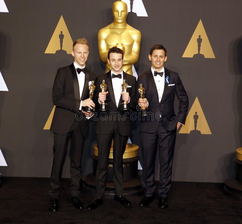 Justin Hurwitz, Benj Pasek et Justin Paul image libre de droits