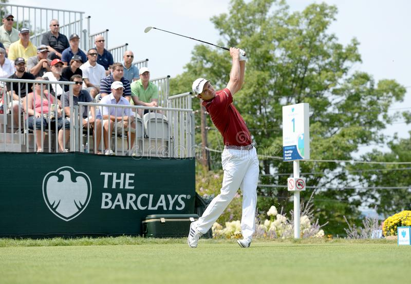 Justin Rose au tournoi 2015 de Barclays organisé chez le Plainfield Country Club en Edison, New Jersey images stock