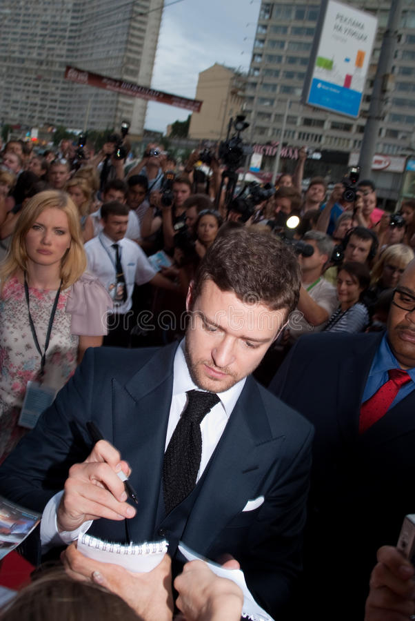 Justin Timberlake à Moscou image libre de droits
