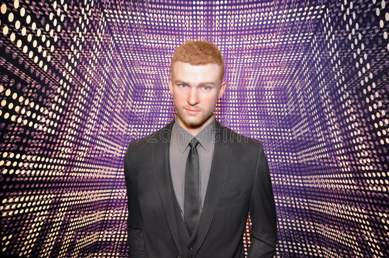Justin Timberlake. Wax statue of Justin Timberlake, Hollywood celebrity and singer, image taken at the Madame Tussauds museum at Hollywood, Los Angeles stock photo