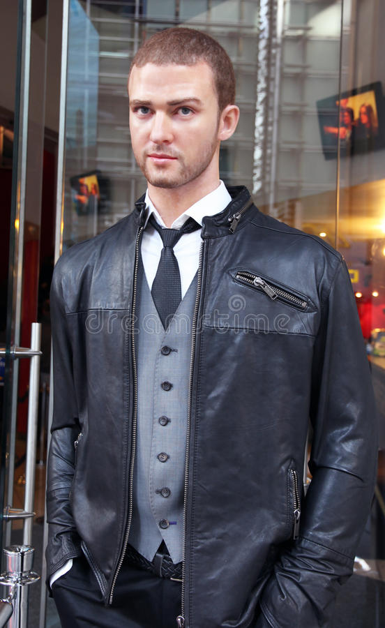 Justin Timberlake. Wax figure at the entrance of Madame Tussauds new york stock images