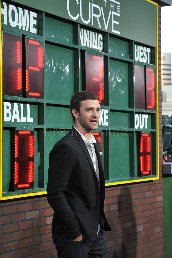 Justin Timberlake. LOS ANGELES, CA - September 19, 2012: Justin Timberlake at the premiere of his movie \'Trouble With The Curve\' at the Mann Village Theatre royalty free stock photography