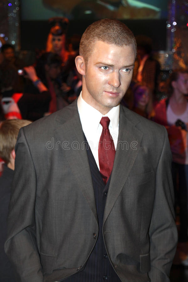 Justin Timberlake at Madame Tussaud's stock photo