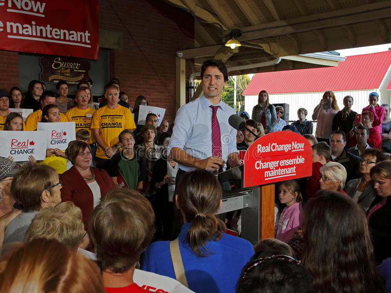 Justin Trudeau Election Speech Sussex immagine stock