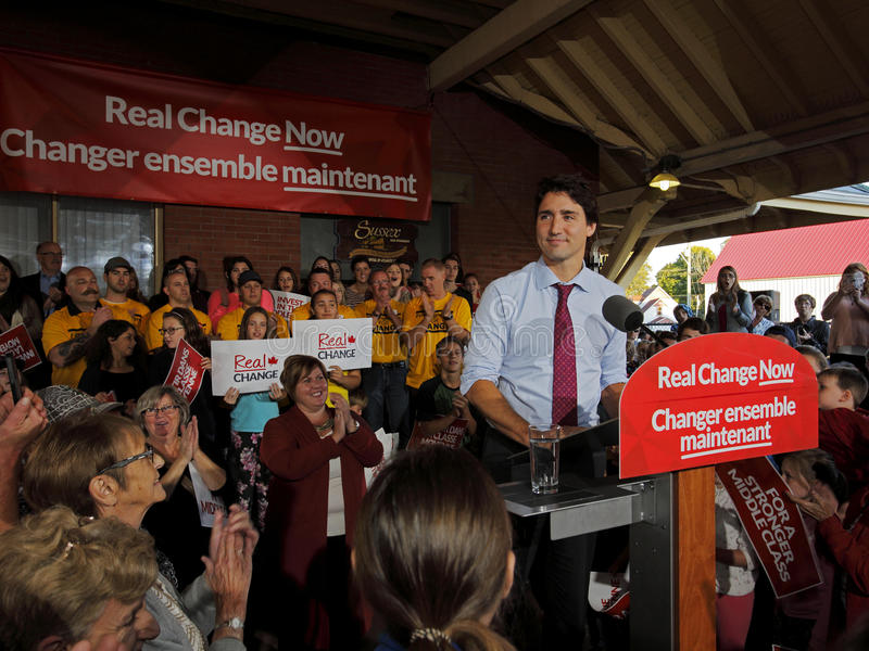 Justin Trudeau Liberal Speech Election Sussex. Federal Liberal Party leader Justin Trudeau visits Sussex, New Brunswick, Oct. 7 in the 2015 Canadian federal royalty free stock images