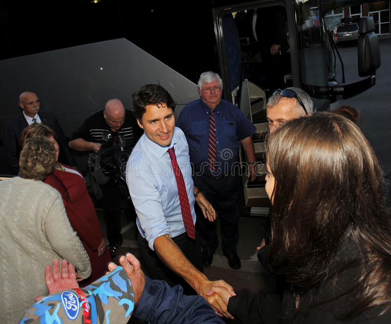 Justin Trudeau Sussex Handshake. Federal Liberal Party leader Justin Trudeau visits Sussex, New Brunswick, Oct. 7 in the 2015 Canadian federal election campaign royalty free stock image
