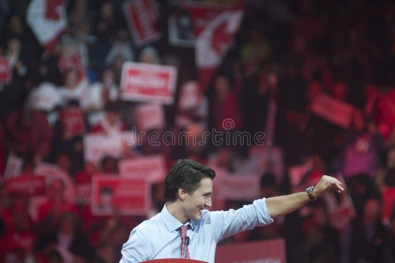 Justin Trudeau-Wahlkampfkundgebung stockbild