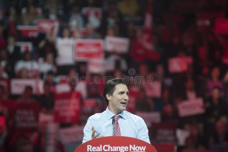 Justin Trudeau-Wahlkampfkundgebung stockfotos