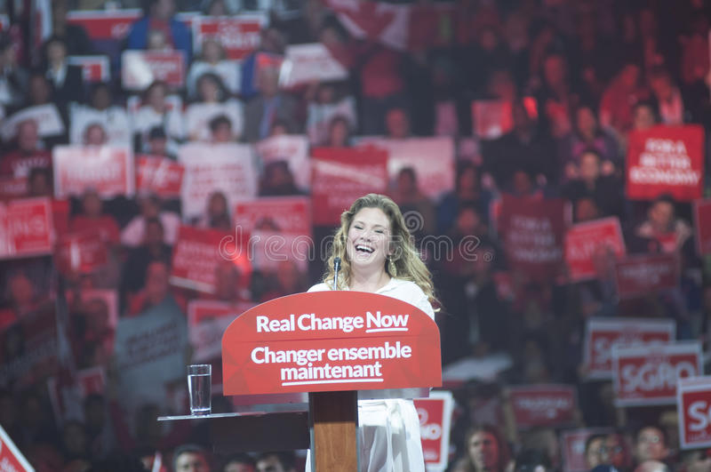 Justin Trudeau-Wahlkampfkundgebung lizenzfreie stockbilder