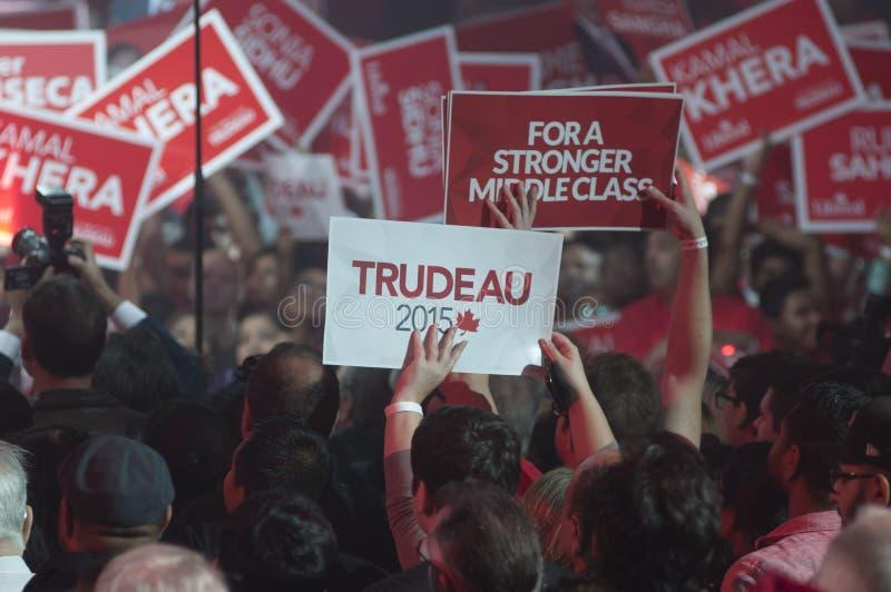 Justin Trudeau-Wahlkampfkundgebung stockbilder