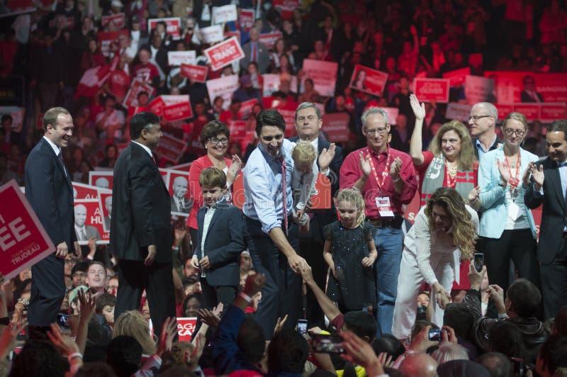 Justin Trudeau wybory wiec zdjęcia stock