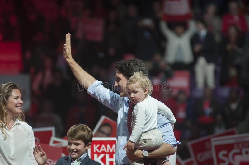 Justin Trudeau wybory wiec obraz royalty free