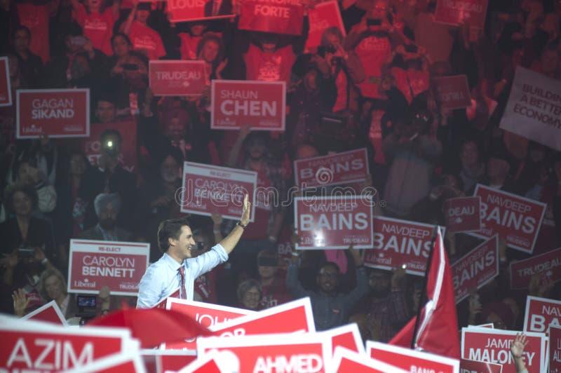 Justin Trudeau wybory wiec zdjęcie stock