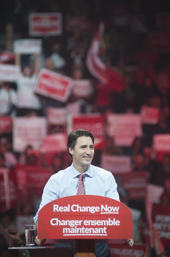 Justin Trudeau wybory wiec fotografia stock