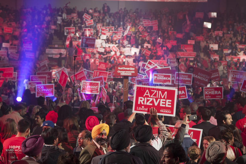 Justin Trudeau wybory wiec fotografia royalty free