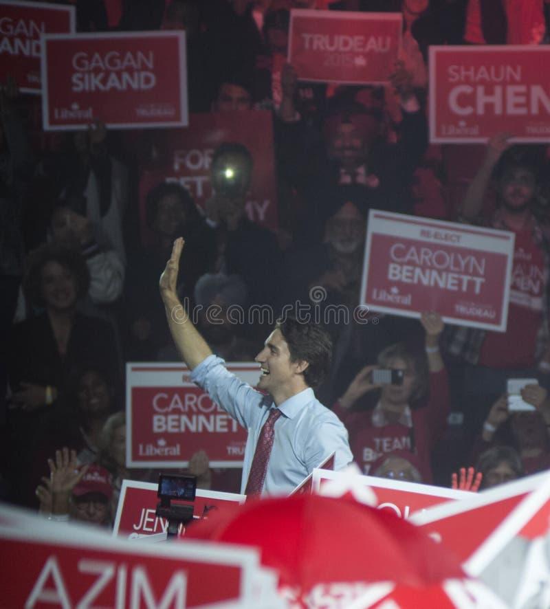 Justin Trudeau wybory wiec zdjęcia royalty free