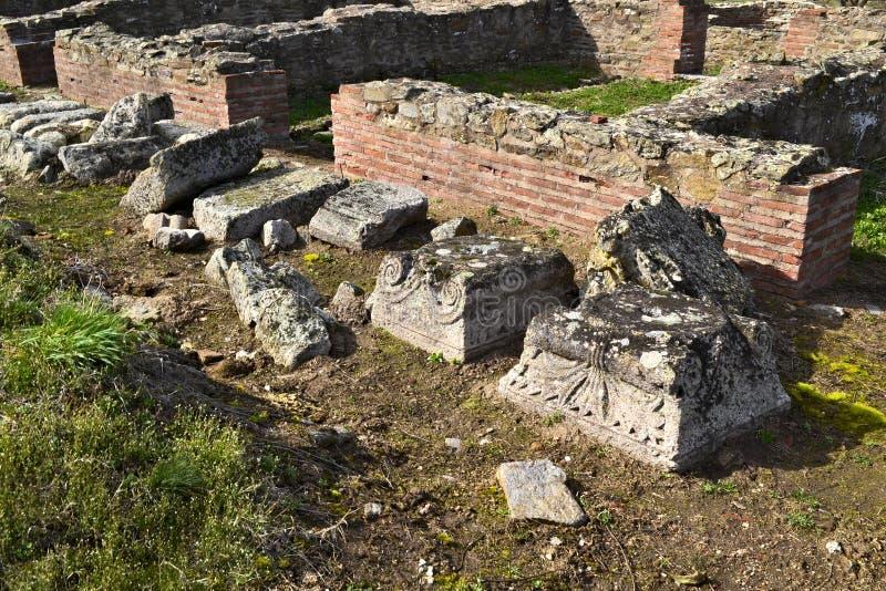 Justiniana Prima, Romański Bizantyjski miasto, ornamenty na filarach zdjęcie stock