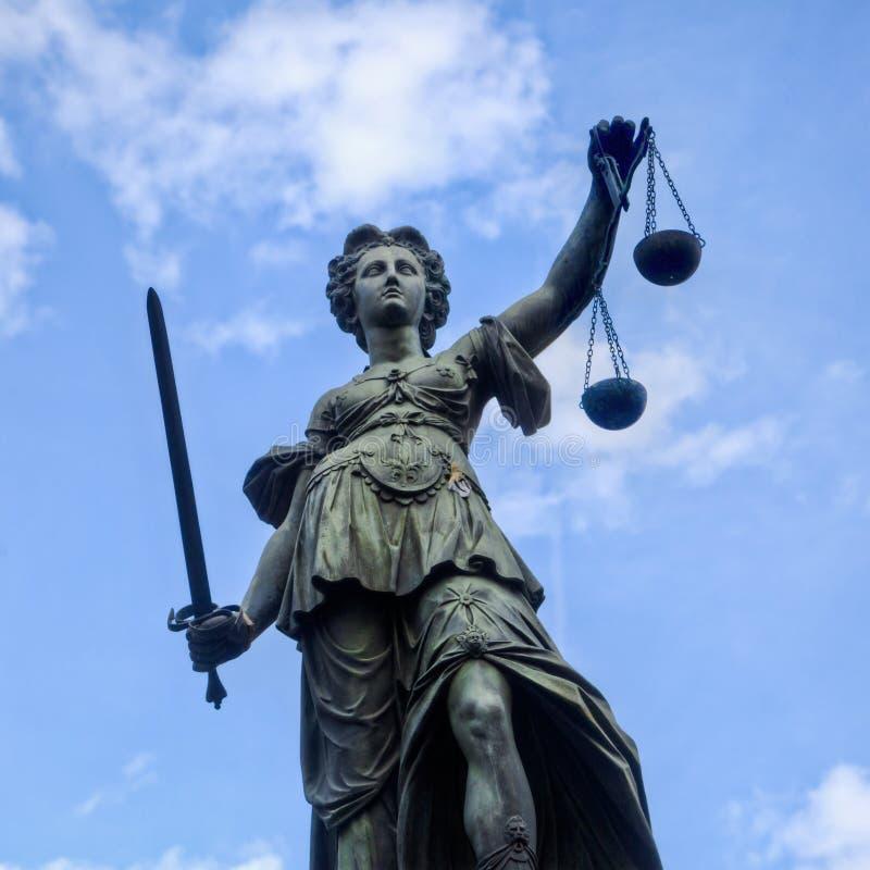 Justitia雕象在法兰克福 免版税库存图片