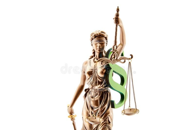 Justitia cego como um conceito para justiça e a lei imagens de stock royalty free