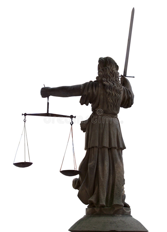 Justitia - von der Rückseite stockfotografie