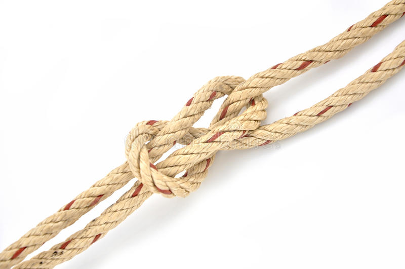 Jutefaser-Seil mit Schotstek stockfotografie