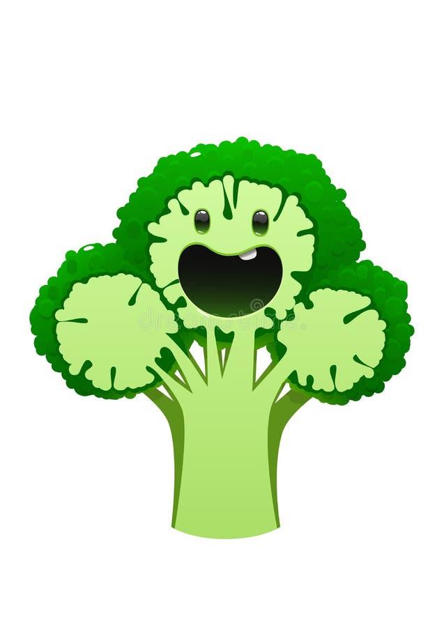 Juteux lumineux de personnage de dessin animé de brocoli sur un fond blanc illustration libre de droits