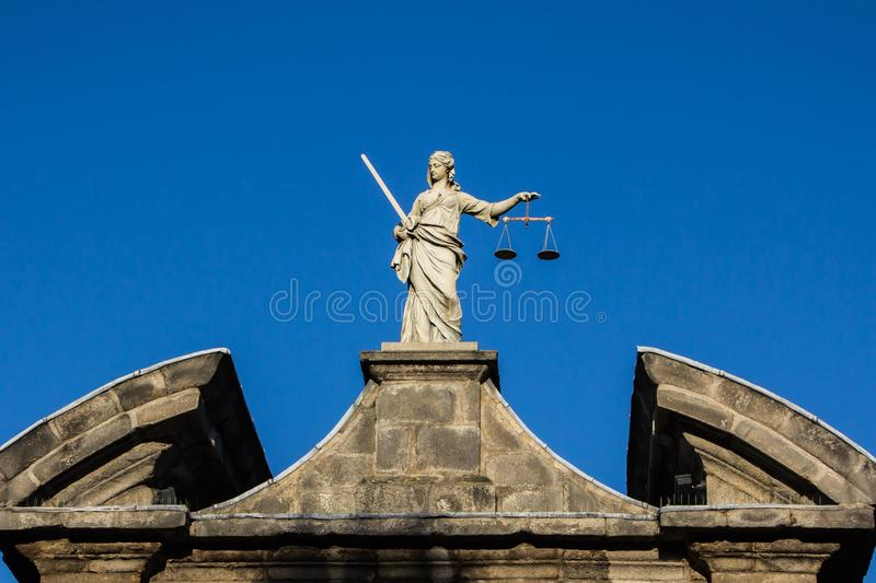 Lady justice statue. At Dublin Castle in Ireland royalty free stock images