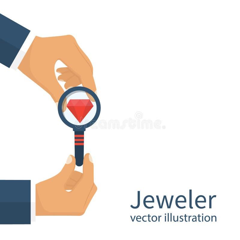 Juvelerare som ser diamanten royaltyfri illustrationer