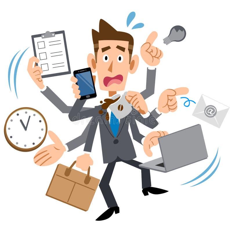 Juventud demasiado ocupada del hombre de negocios stock de ilustración