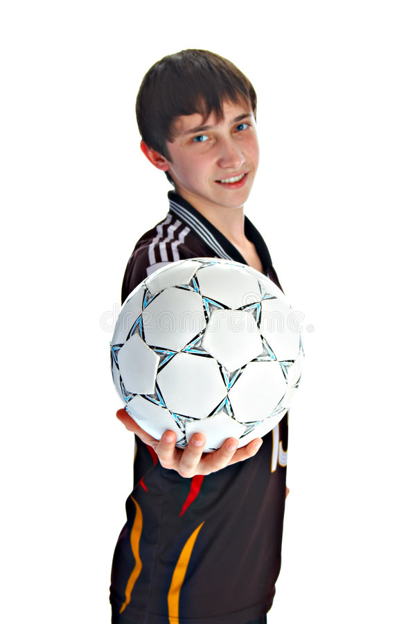 Juventude com esfera de futebol fotografia de stock royalty free