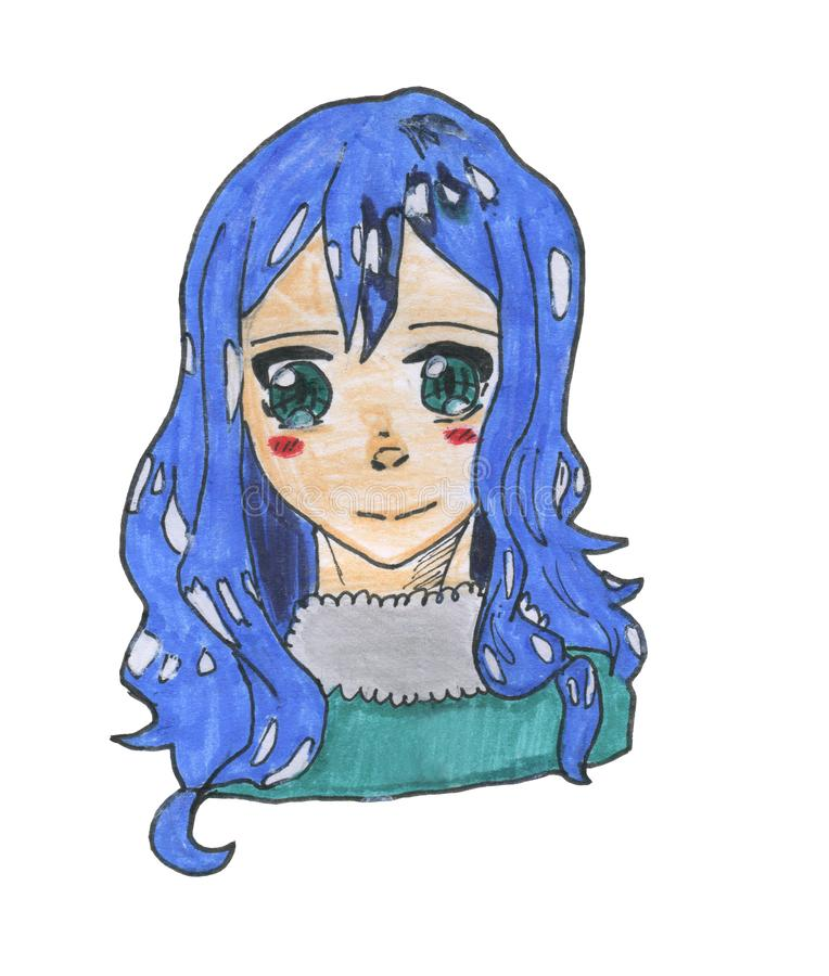 Juvia character from Fairy Tail anime cartoon series royalty free stock image
