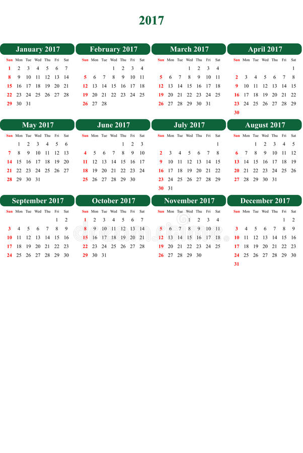 Juwel farbiger klar farbiger einfacher Kalender 2016 lizenzfreie abbildung