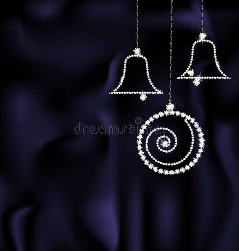 Juwel-Weihnachtsball und -glocken stock abbildung