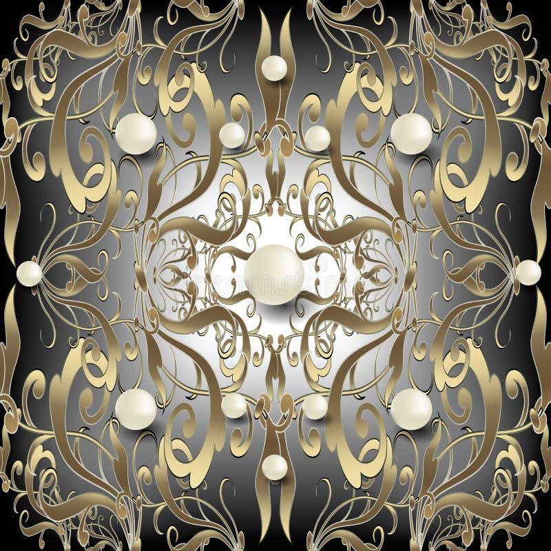 Juwelen 3d Barok naadloos patroon Overladen vectordamastachtergrond De witte halfedelstenen van oppervlakteparels Uitstekend goud vector illustratie