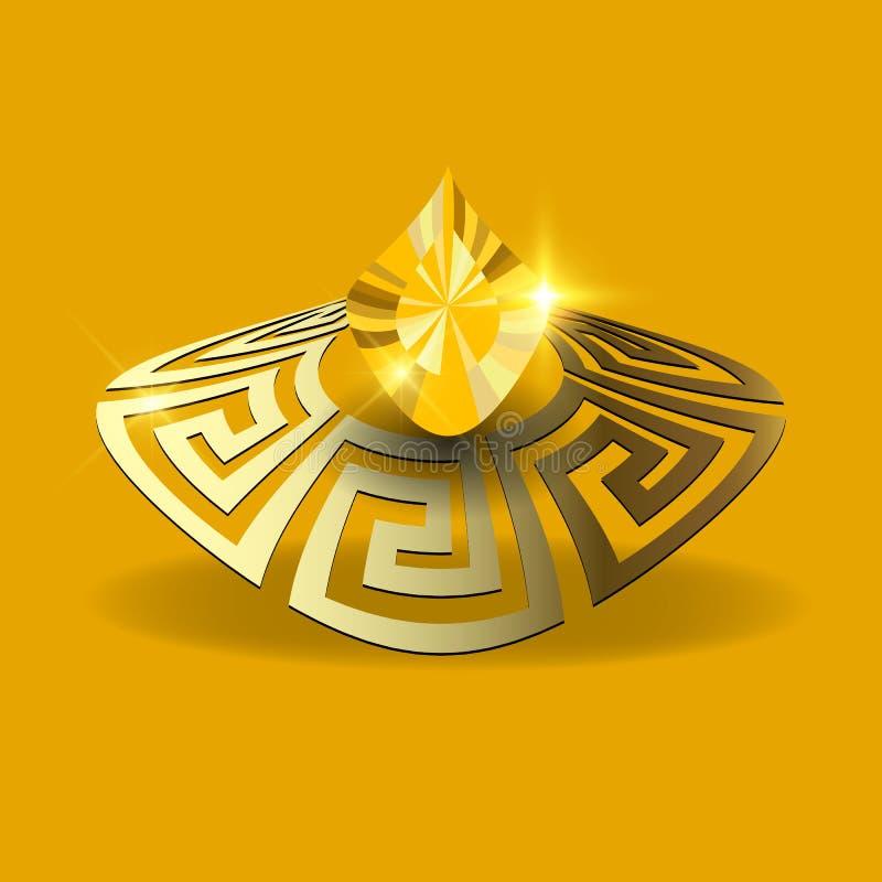 Juwelen 3d vectorillustratie Juwelen Griekse achtergrond Gouden 3d Griekse zeer belangrijke meanders, gele glanzende diamanthalfe royalty-vrije illustratie